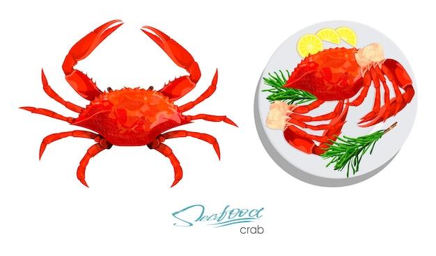 Crabe isolé sur fond blanc viande de crabe au romarin et citron sur la plaque