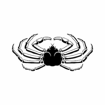 Crabe logo symbole conception pochoir tatouage illustration vectorielle