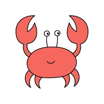 Crabe de mer mignon dans le style doodle animaux côtiers illustration simple isolé sur fond blanc