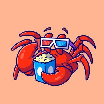 Crabe mignon, regarder le film cartoon vector icon illustration. concept d'icône de loisirs animaliers isolé vecteur premium. style de dessin animé plat