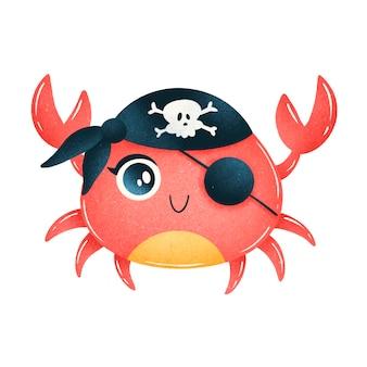 Crabe pirate dessin animé mignon isolé sur blanc. pirates des animaux