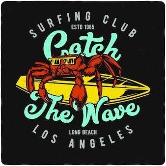 Crabe sur la planche de surf