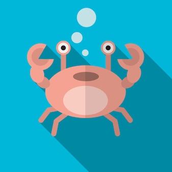 Crabe plat icône illustration isolé vectro signe symbole