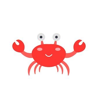 Crabe rouge mignon, illustration vectorielle en style cartoon plat sur fond blanc