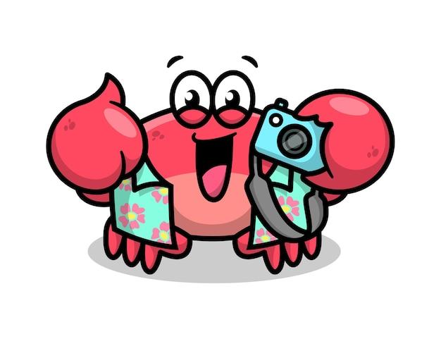 Crabe Rouge Mignon Portant Une Chemise Bleue Et Tenant Un Appareil Photo Vecteur Premium