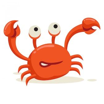 Un crabe soulève sa patte sur un fond blanc