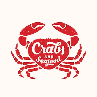 Crabes et fruits de mer abstrait emblème ou modèle de logo avec silhouette de crabe rouge et typographie rétro.