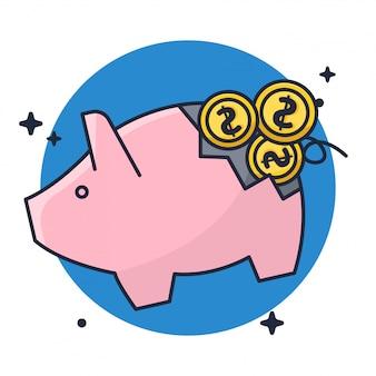 Cracked of piggy for money