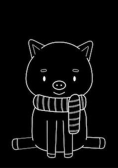 Craie blanche sur fond noir, dessin mignon avec un cochon dans une écharpe rayée. illustration vectorielle
