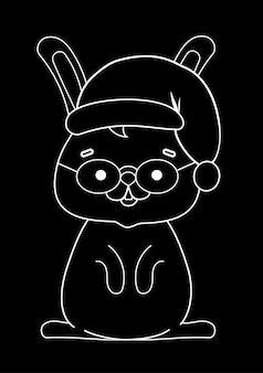 Craie blanche sur fond noir, dessin mignon avec un lapin avec une casquette de noël. illustration vectorielle