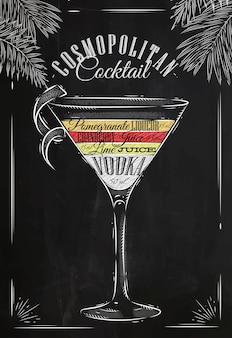 Craie cocktail cosmopolite