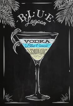 Craie de cocktail lagon bleu