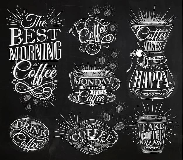 Craie de signes de café