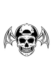 Crâne avec des ailes de chauve-souris vector illustration