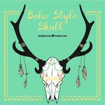 Crâne d'animal de style décoratif boho
