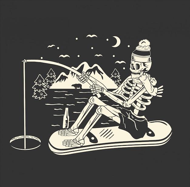 Crâne appréciant la nuit de pêche après le patinage sur glace