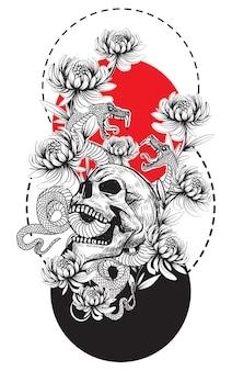Crâne d'art de tatouage et dessin et croquis de main de fleur de serpent