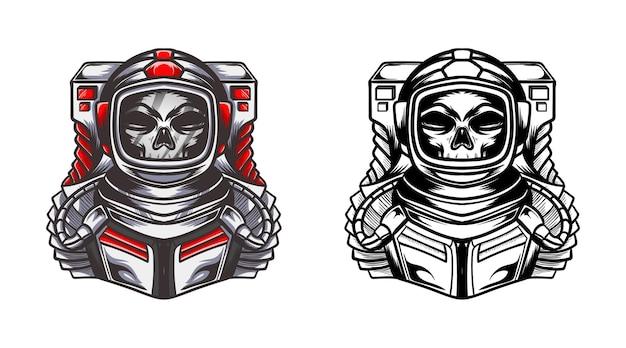 Crâne astronaute couleur et dessin au trait