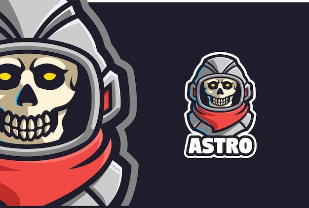 Crâne astronaute logo mascotte