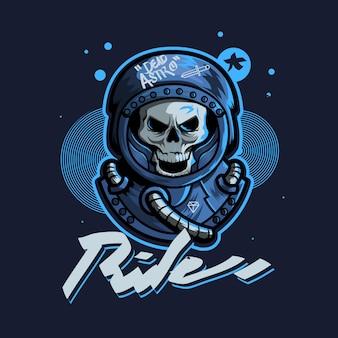Crâne astronout art urbain logo de jeu