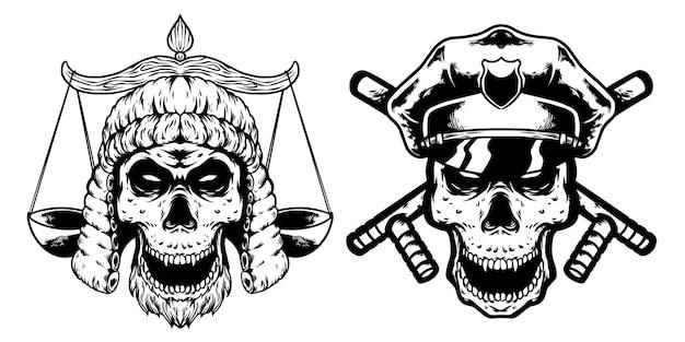 Crâne avocat et crâne police design