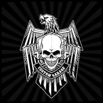 Crâne avec badge aigle de fer