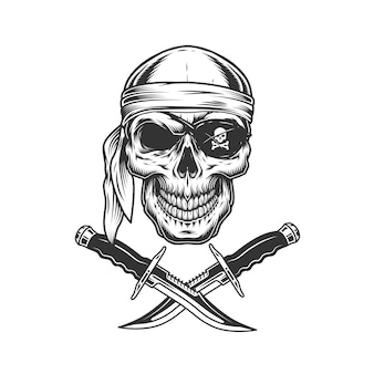 Crâne en bandana et cache-oeil