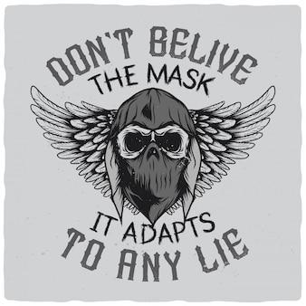 Crâne en bandana et sweat à capuche avec des ailes
