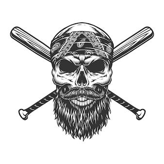 Crâne de bandit barbu et moustachu vintage
