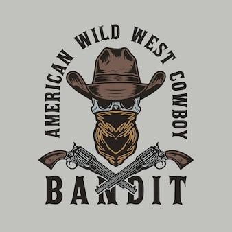 Crâne de bandit du far west avec chapeau de cowboy et fusils