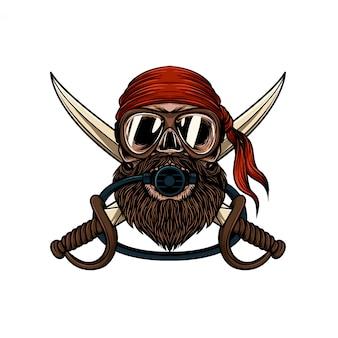 Crâne de barbe dessiné à la main