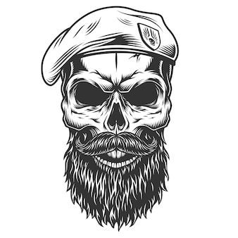 Crâne avec barbe