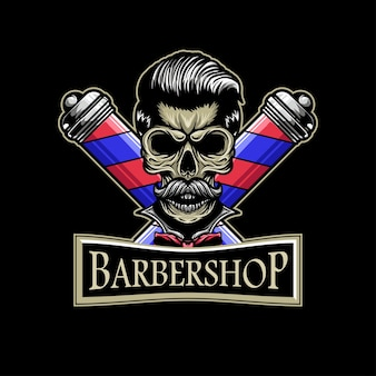 Crâne barbier logo avec mascotte illustation crâne