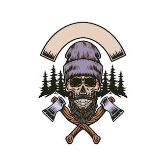 Crâne barbu bûcheron à deux axes, ligne dessinée à la main avec couleur numérique, illustration