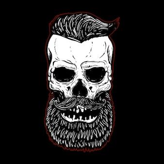 Crâne barbu dessiné main isolé sur fond noir