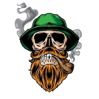 Crâne barbu fumé portant un chapeau