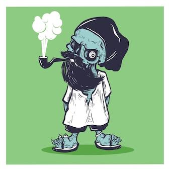 Crâne barbu fumé