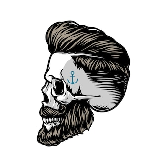 Crâne barbu et moustachu avec une coiffure élégante et un tatouage d'ancre sur l'illustration vectorielle isolée du temple