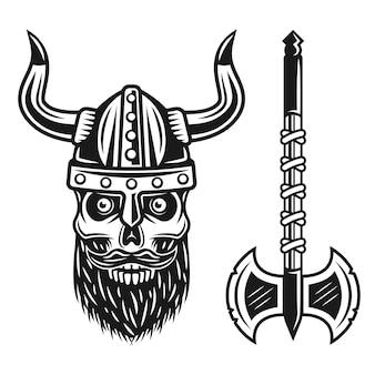 Crâne barbu viking en casque et objets noirs à double hache