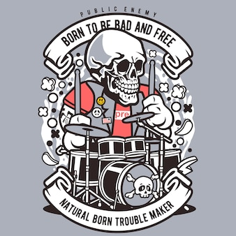 Crâne batteur caricature