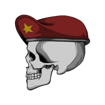 Crâne avec béret rouge