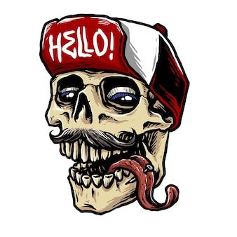 Crâne de bête hype avec illustration de chapeau à pression