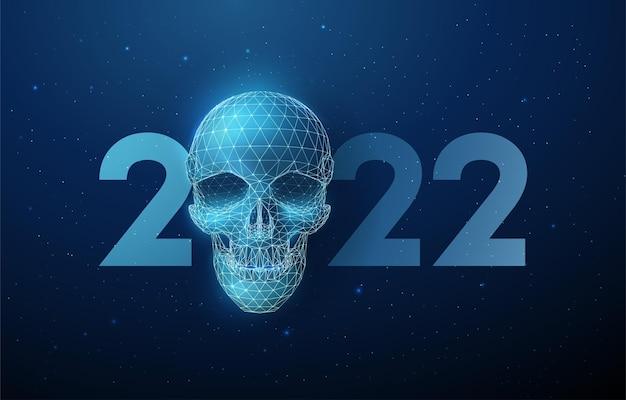Crâne bleu abstrait et carte de voeux de nouvel an numéro 2022