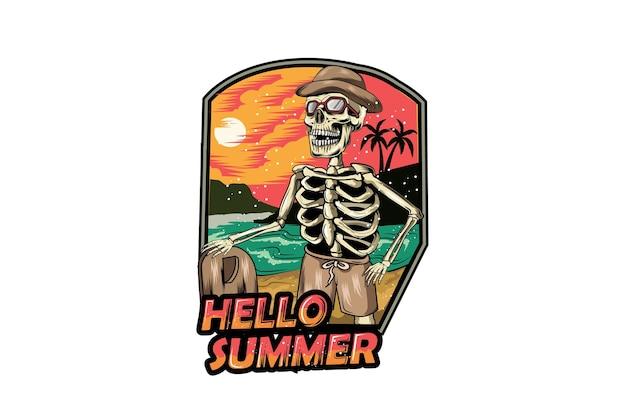 Crâne bonjour été en illustration de dessin à la main de plage