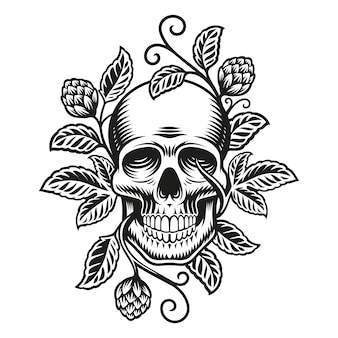 Crâne avec des branches de houblon isolé sur blanc