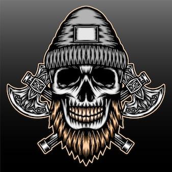 Crâne de bûcheron avec conception d'illustration dessinée à la main de hache