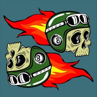 Crâne burn casque illustration vectorielle