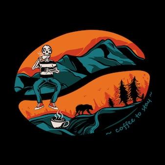 Crâne buvant du café sur l'illustration de la montagne