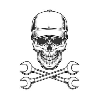 Crâne de camionneur monochrome vintage