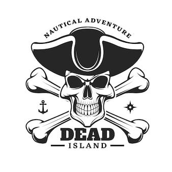 Crâne de capitaine pirate et icône d'os croisés
